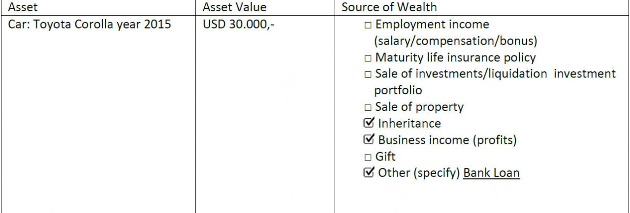 Below we have included a practical example on how a Source of Wealth Declaration form should be completed